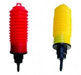 pisca-sanfonado vermelho e amarelo